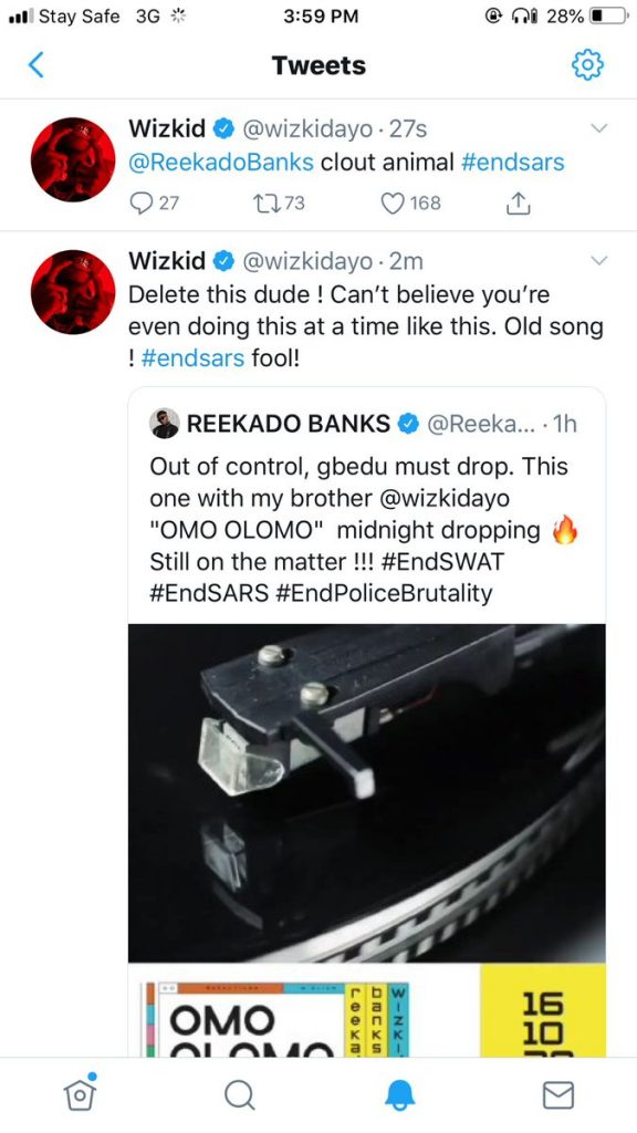 This image has an empty alt attribute; its file name is Wizkid-Calls-Reekado-Banks-'Fool-For-Releasing-Track-Amidst-EndSars-protest-576x1024.jpg